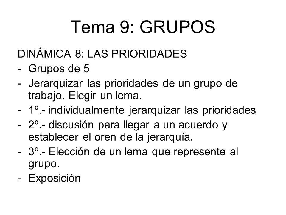 Tema 9: GRUPOS DINÁMICA 8: LAS PRIORIDADES Grupos de 5