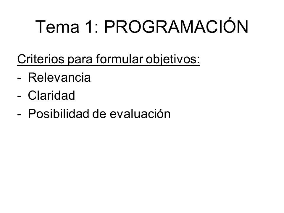 Tema 1: PROGRAMACIÓN Criterios para formular objetivos: Relevancia