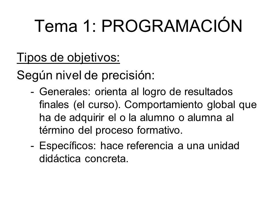 Tema 1: PROGRAMACIÓN Tipos de objetivos: Según nivel de precisión: