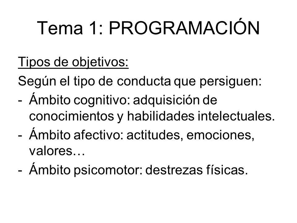 Tema 1: PROGRAMACIÓN Tipos de objetivos: