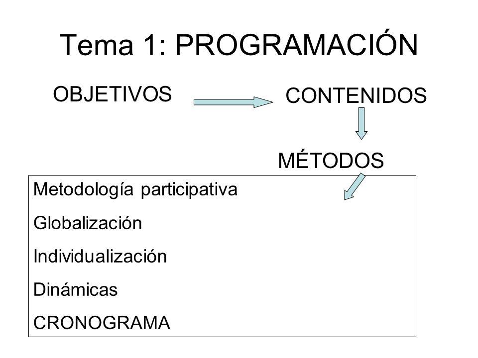 Tema 1: PROGRAMACIÓN OBJETIVOS CONTENIDOS MÉTODOS