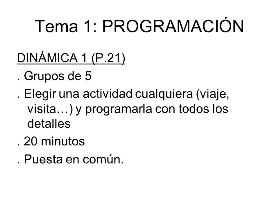 Tema 1: PROGRAMACIÓN DINÁMICA 1 (P.21) . Grupos de 5