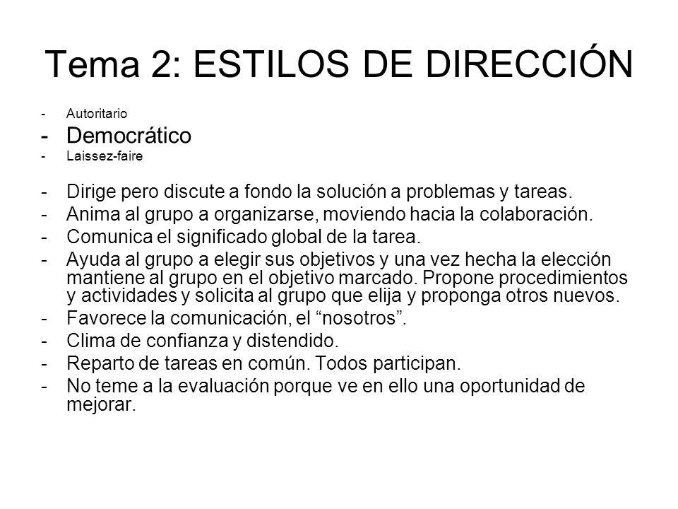 Tema 2: ESTILOS DE DIRECCIÓN