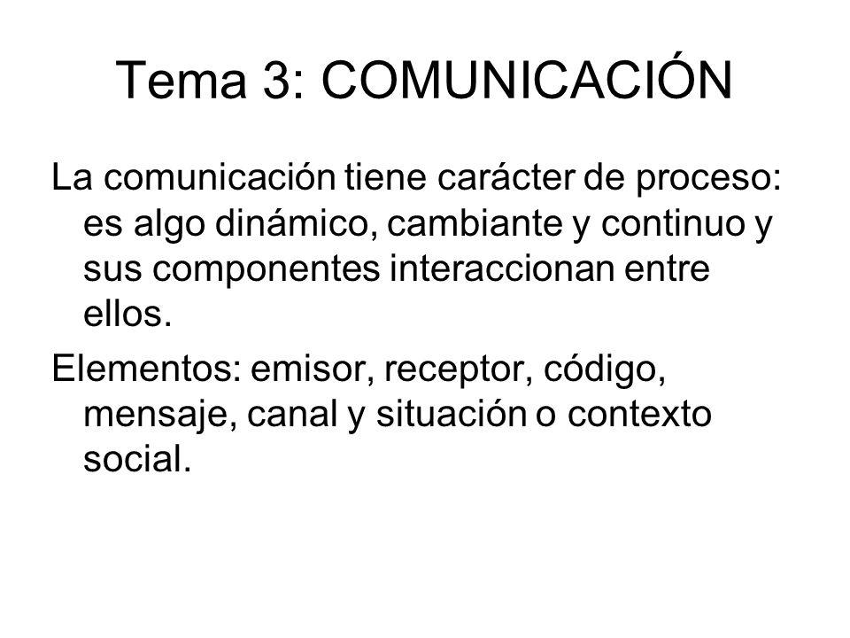 Tema 3: COMUNICACIÓN La comunicación tiene carácter de proceso: es algo dinámico, cambiante y continuo y sus componentes interaccionan entre ellos.