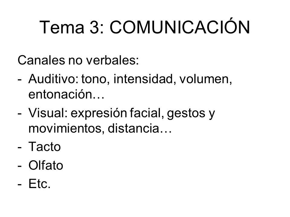Tema 3: COMUNICACIÓN Canales no verbales: