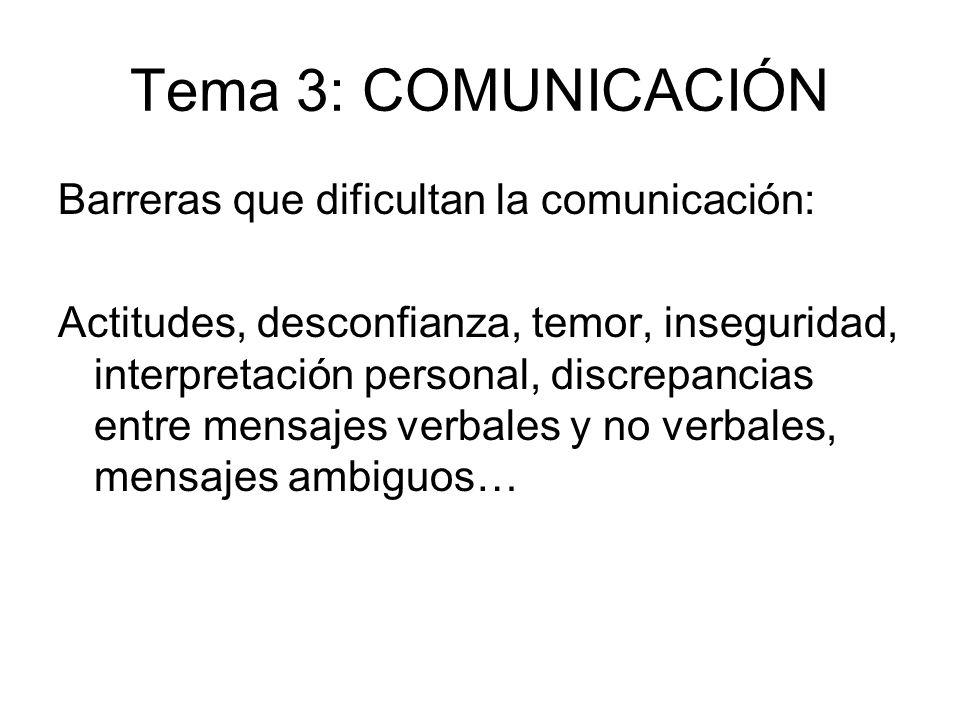 Tema 3: COMUNICACIÓN Barreras que dificultan la comunicación: