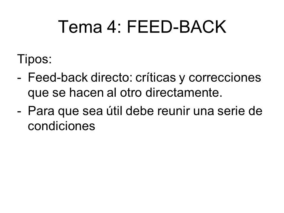 Tema 4: FEED-BACK Tipos: