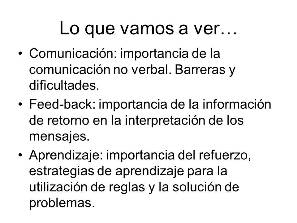 Lo que vamos a ver… Comunicación: importancia de la comunicación no verbal. Barreras y dificultades.