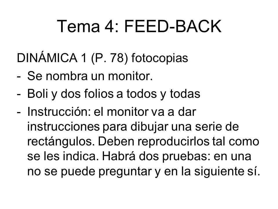Tema 4: FEED-BACK DINÁMICA 1 (P. 78) fotocopias Se nombra un monitor.