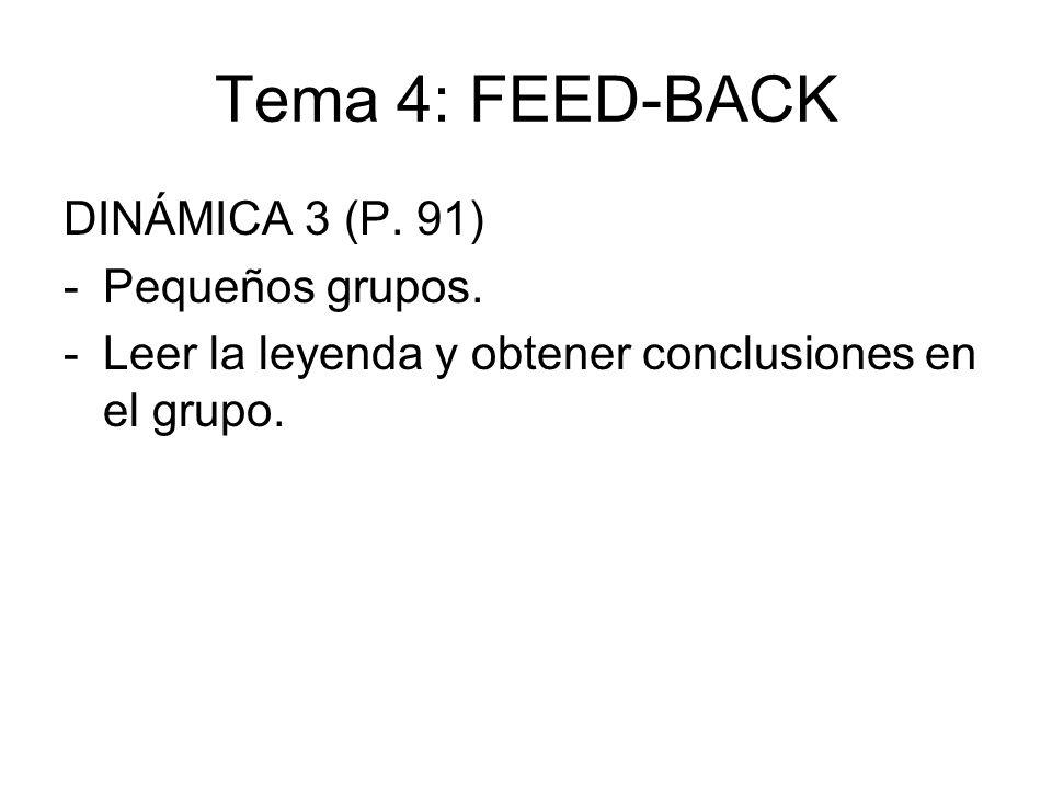 Tema 4: FEED-BACK DINÁMICA 3 (P. 91) Pequeños grupos.