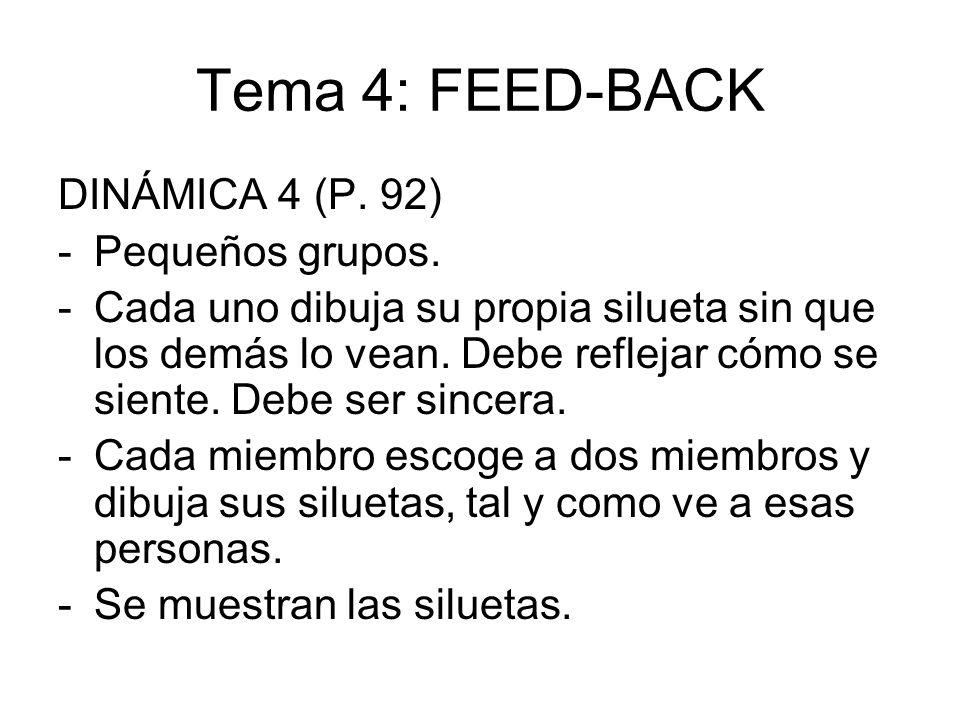 Tema 4: FEED-BACK DINÁMICA 4 (P. 92) Pequeños grupos.