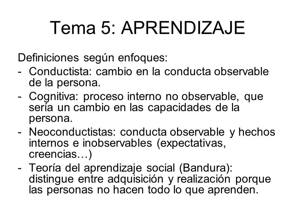 Tema 5: APRENDIZAJE Definiciones según enfoques: