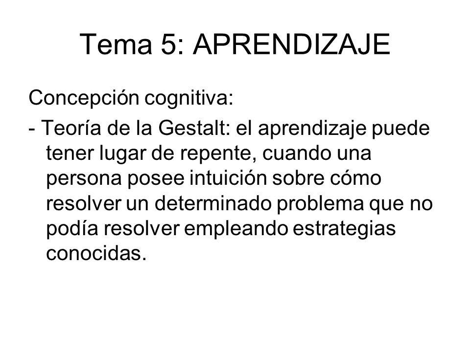 Tema 5: APRENDIZAJE Concepción cognitiva: