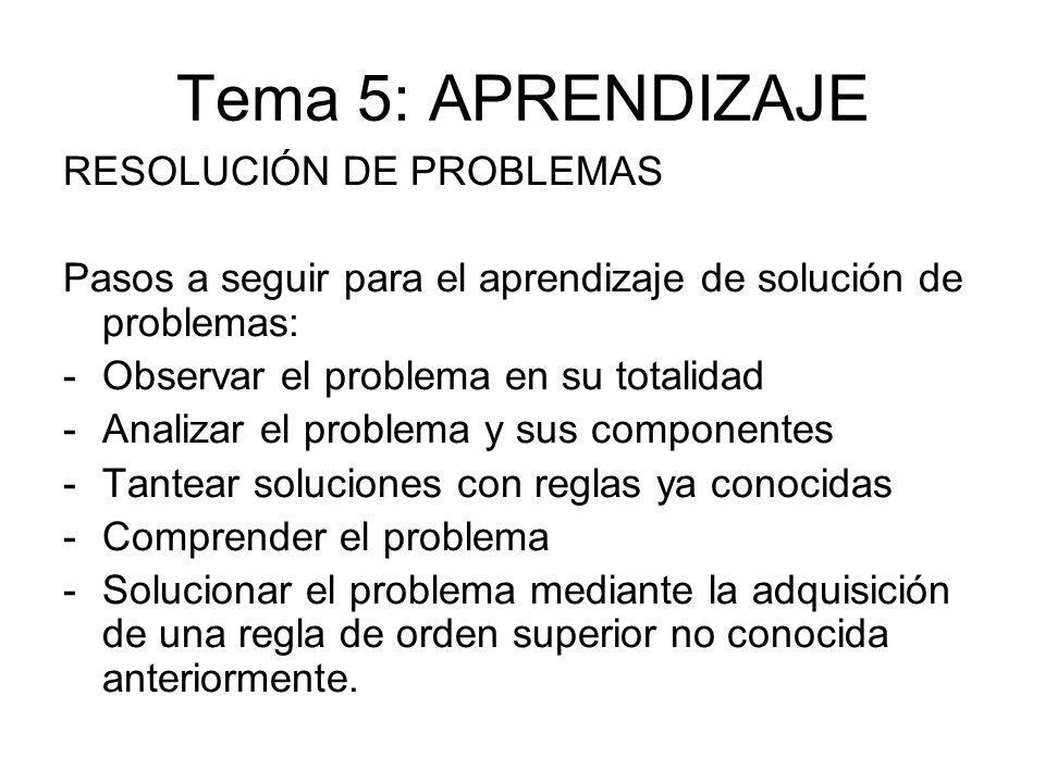 Tema 5: APRENDIZAJE RESOLUCIÓN DE PROBLEMAS