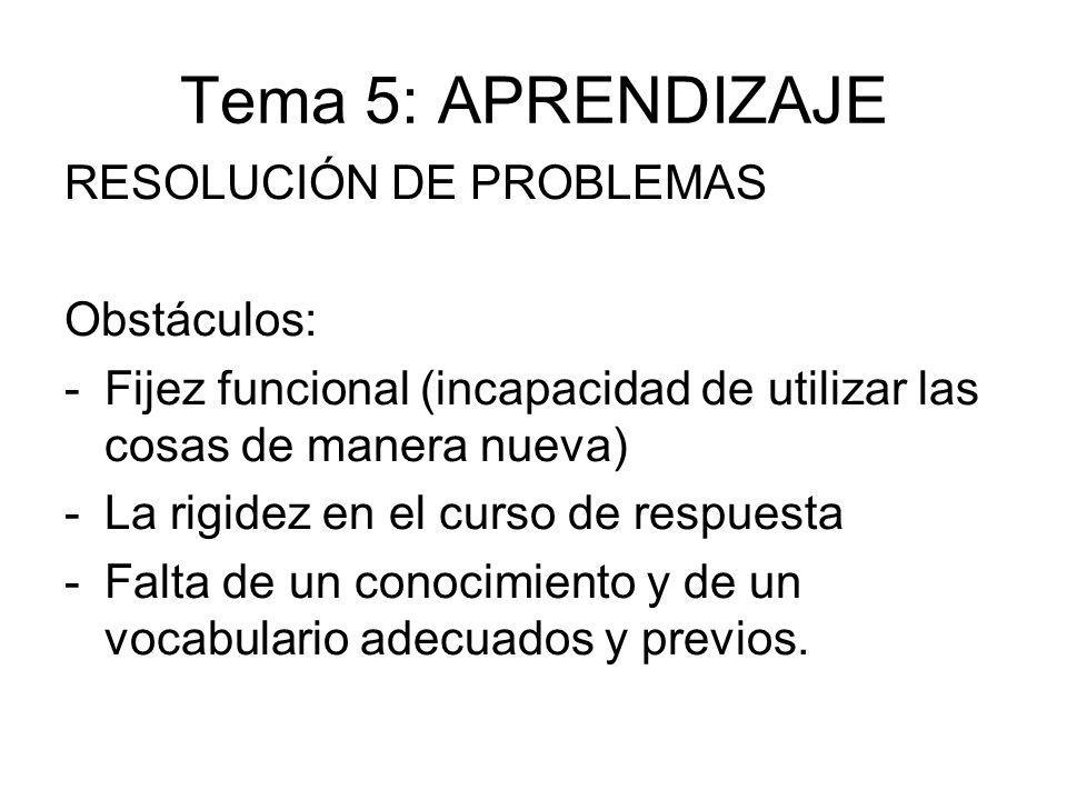 Tema 5: APRENDIZAJE RESOLUCIÓN DE PROBLEMAS Obstáculos: