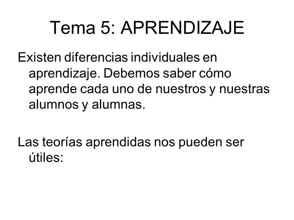 Tema 5: APRENDIZAJE Existen diferencias individuales en aprendizaje. Debemos saber cómo aprende cada uno de nuestros y nuestras alumnos y alumnas.