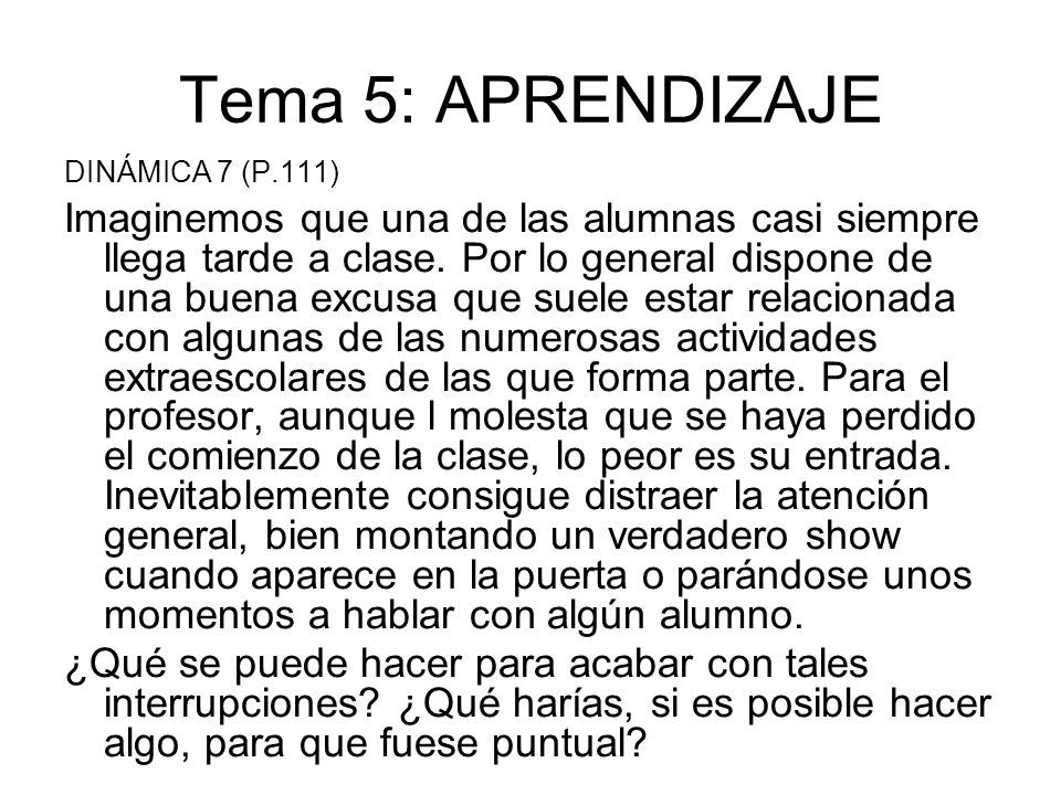 Tema 5: APRENDIZAJE DINÁMICA 7 (P.111)