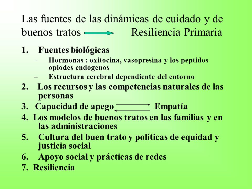 Las fuentes de las dinámicas de cuidado y de buenos tratos Resiliencia Primaria