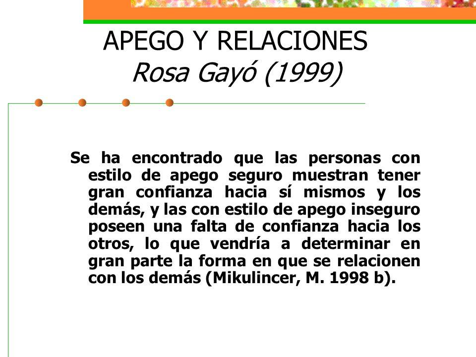 APEGO Y RELACIONES Rosa Gayó (1999)