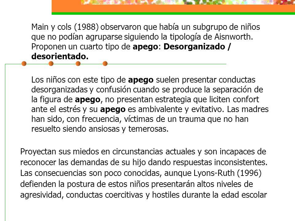 Main y cols (1988) observaron que había un subgrupo de niños que no podían agruparse siguiendo la tipología de Aisnworth. Proponen un cuarto tipo de apego: Desorganizado / desorientado.