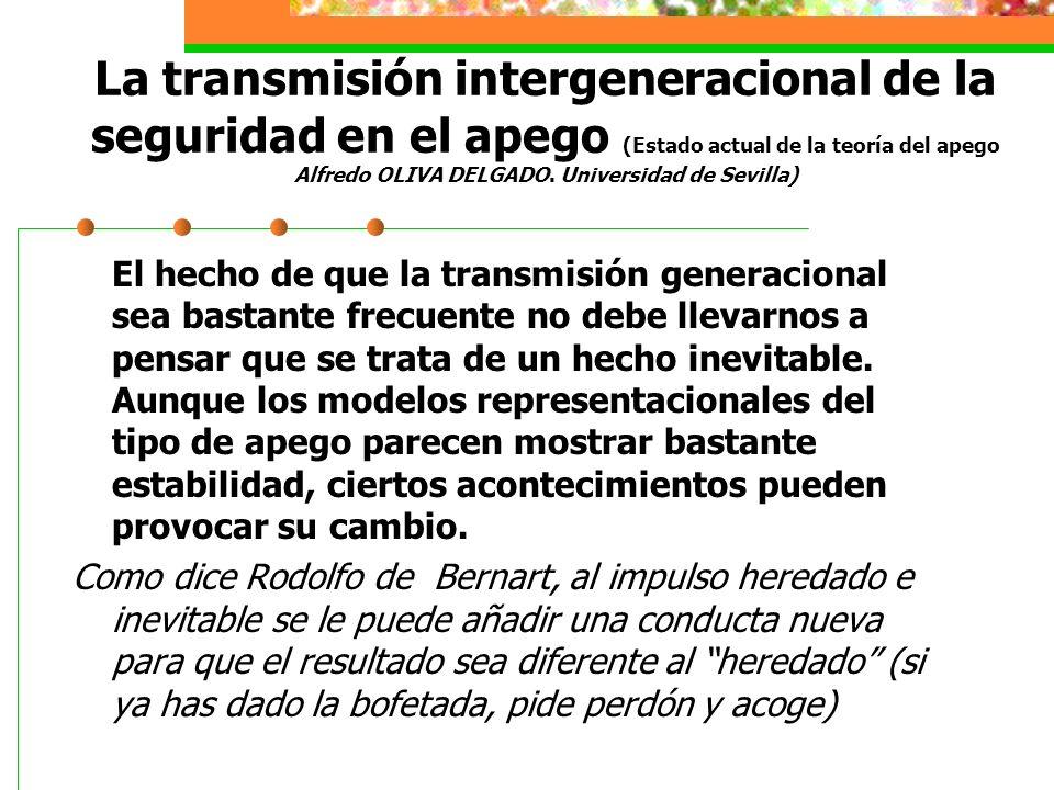 La transmisión intergeneracional de la seguridad en el apego (Estado actual de la teoría del apego Alfredo OLIVA DELGADO. Universidad de Sevilla)