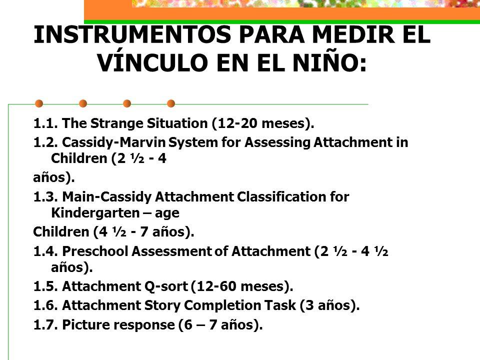 INSTRUMENTOS PARA MEDIR EL VÍNCULO EN EL NIÑO: