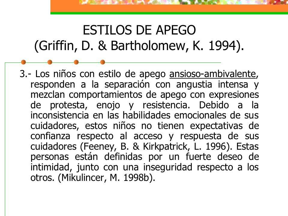 ESTILOS DE APEGO (Griffin, D. & Bartholomew, K. 1994).