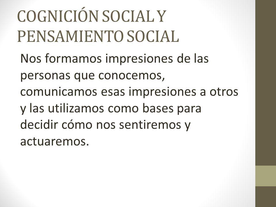 COGNICIÓN SOCIAL Y PENSAMIENTO SOCIAL