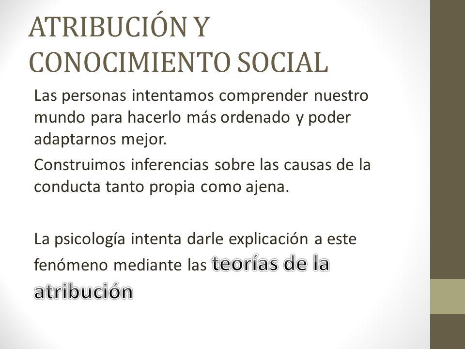 ATRIBUCIÓN Y CONOCIMIENTO SOCIAL