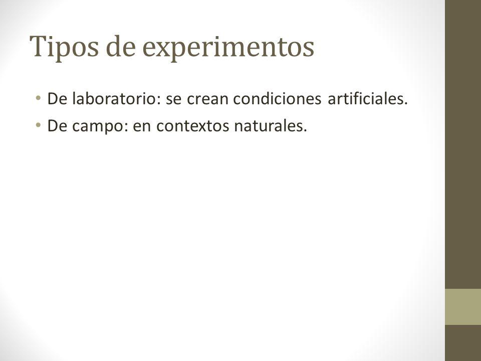 Tipos de experimentos De laboratorio: se crean condiciones artificiales.