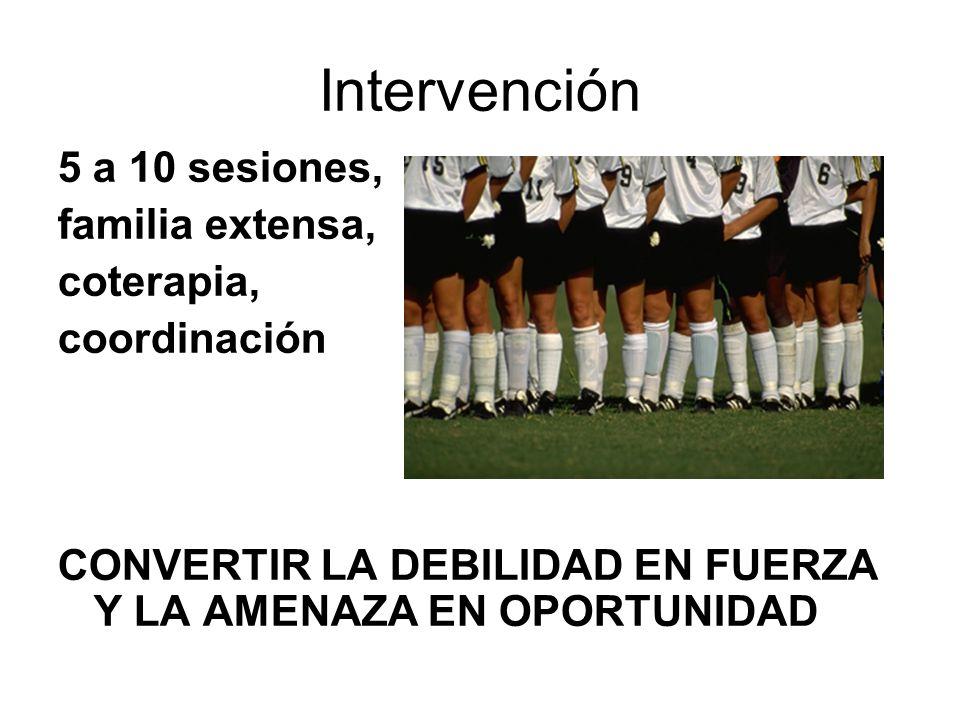 Intervención 5 a 10 sesiones, familia extensa, coterapia, coordinación