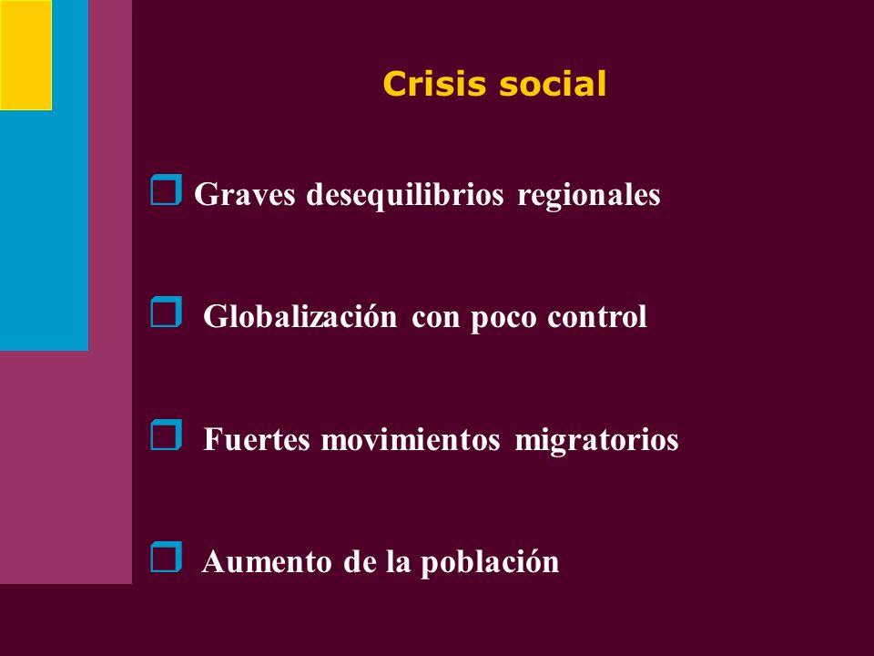 Crisis social Graves desequilibrios regionales. Globalización con poco control. Fuertes movimientos migratorios.