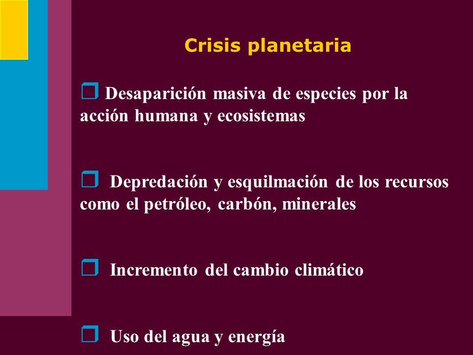 Crisis planetaria Desaparición masiva de especies por la acción humana y ecosistemas.