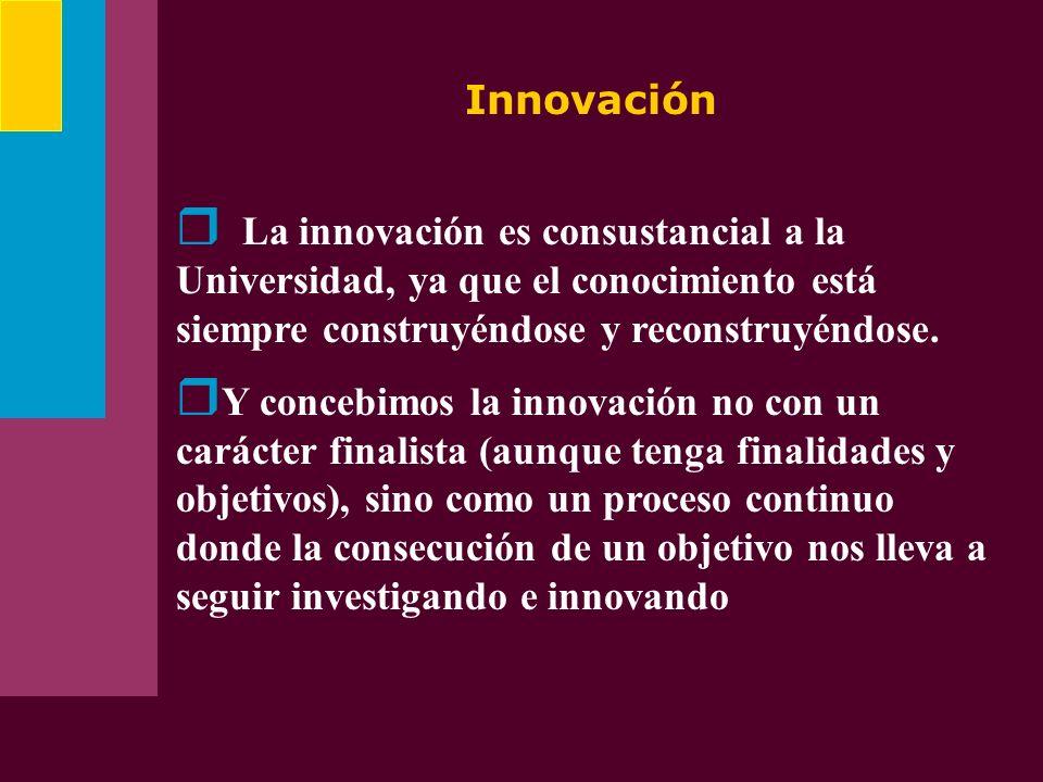 InnovaciónLa innovación es consustancial a la Universidad, ya que el conocimiento está siempre construyéndose y reconstruyéndose.