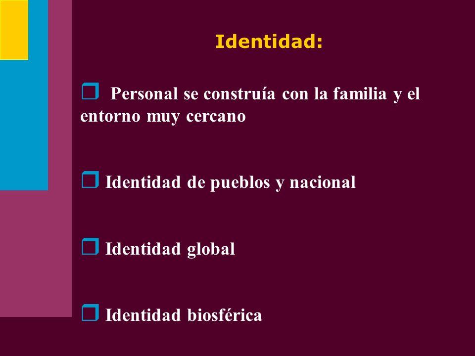 Identidad:Personal se construía con la familia y el entorno muy cercano. Identidad de pueblos y nacional.