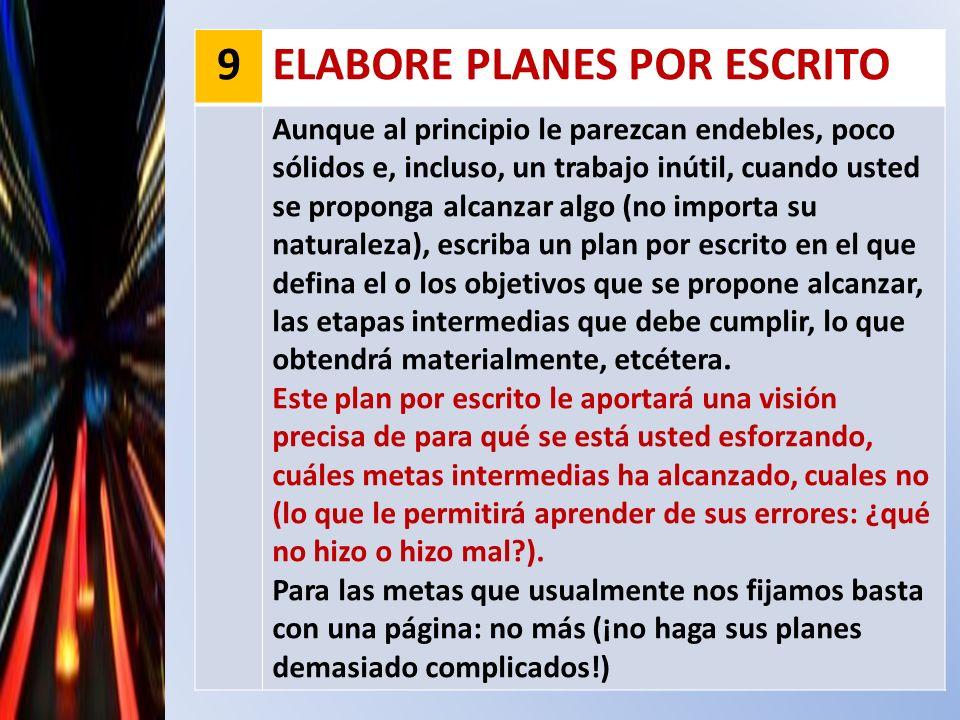 ELABORE PLANES POR ESCRITO