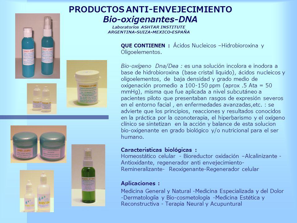 PRODUCTOS ANTI-ENVEJECIMIENTO Bio-oxigenantes-DNA Laboratorios ASHTAR INSTITUTE ARGENTINA-SUIZA-MEXICO-ESPAÑA