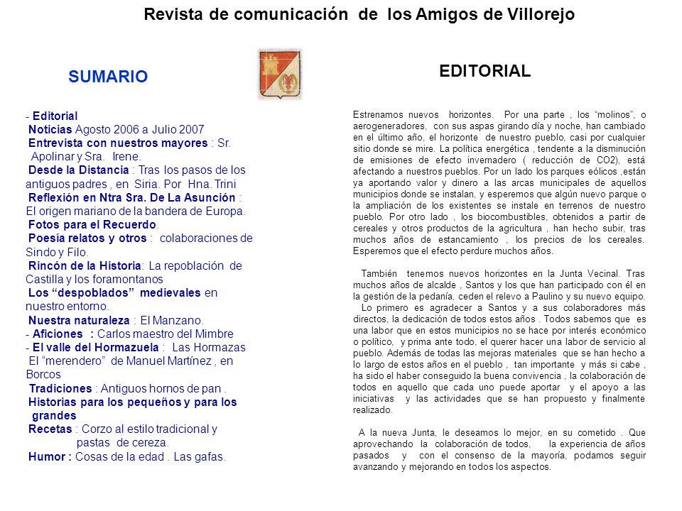 Revista de comunicación de los Amigos de Villorejo