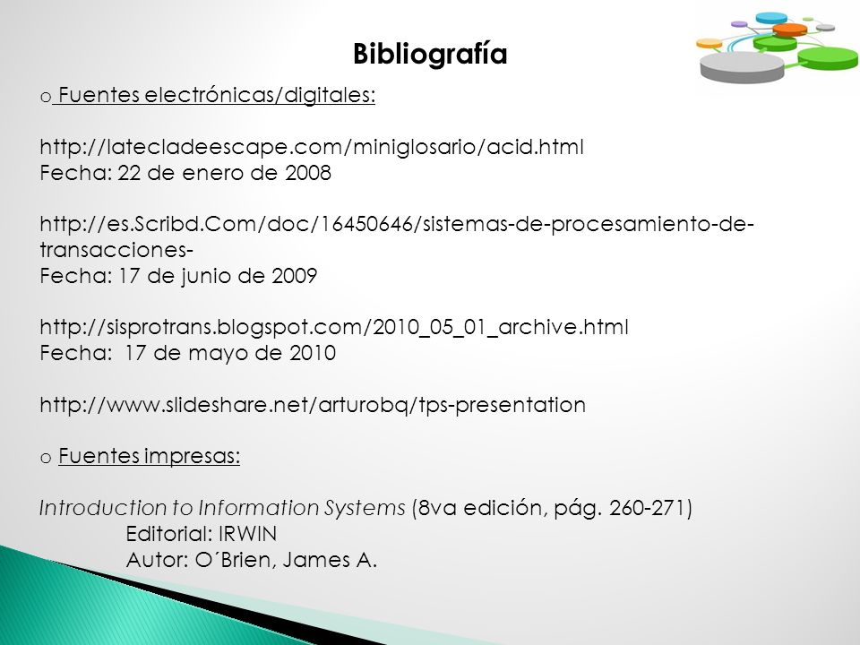 Bibliografía Fuentes electrónicas/digitales: