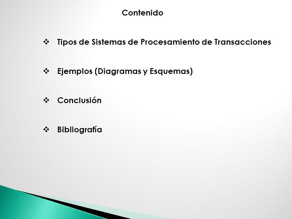 Contenido Tipos de Sistemas de Procesamiento de Transacciones. Ejemplos (Diagramas y Esquemas) Conclusión.