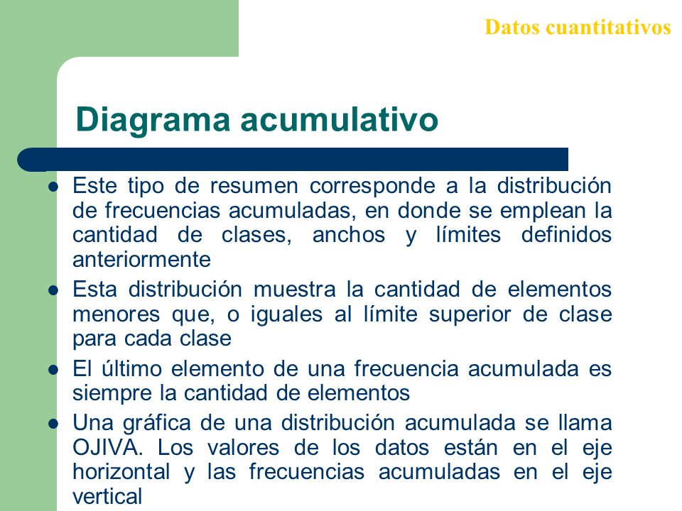 Diagrama acumulativo Datos cuantitativos