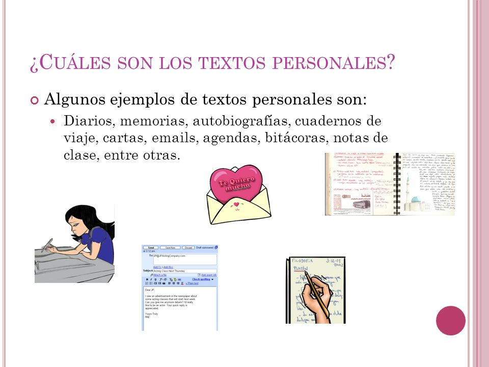 ¿Cuáles son los textos personales