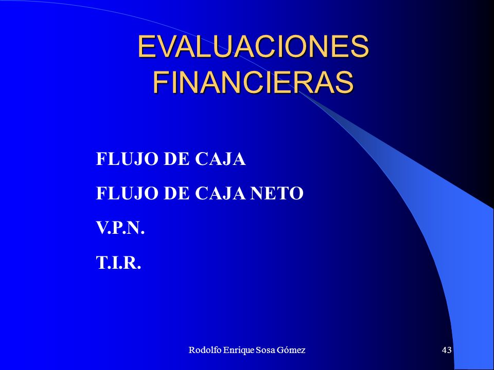 EVALUACIONES FINANCIERAS