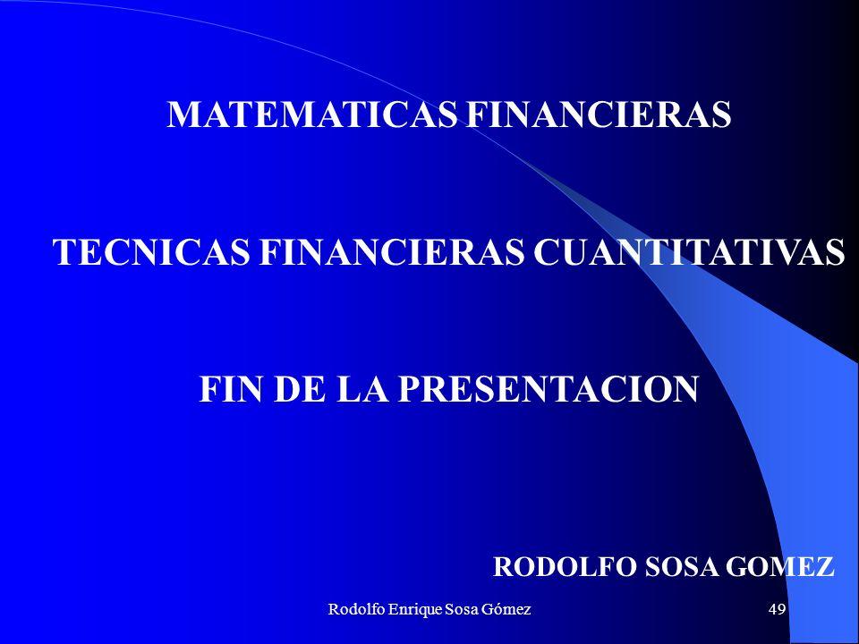 MATEMATICAS FINANCIERAS TECNICAS FINANCIERAS CUANTITATIVAS