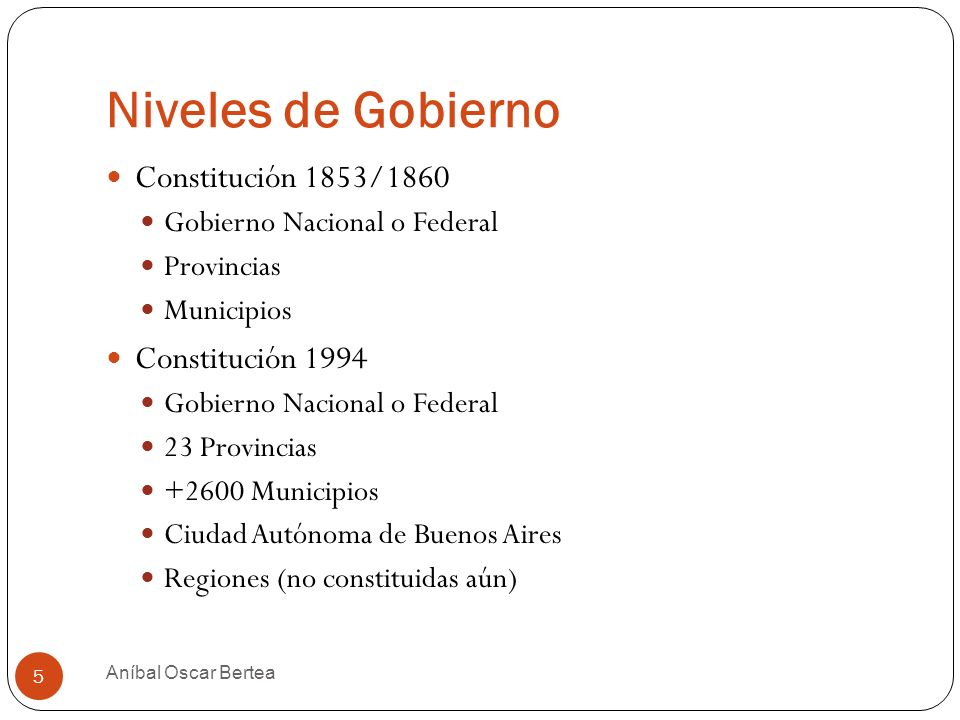 Niveles de Gobierno Constitución 1853/1860 Constitución 1994