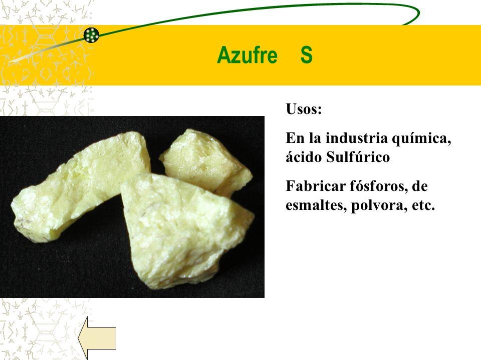 Azufre S Usos: En la industria química, ácido Sulfúrico