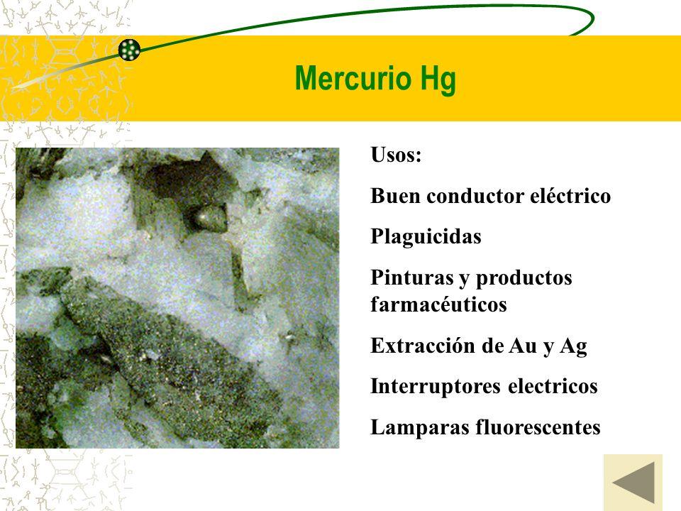 Mercurio Hg Usos: Buen conductor eléctrico Plaguicidas