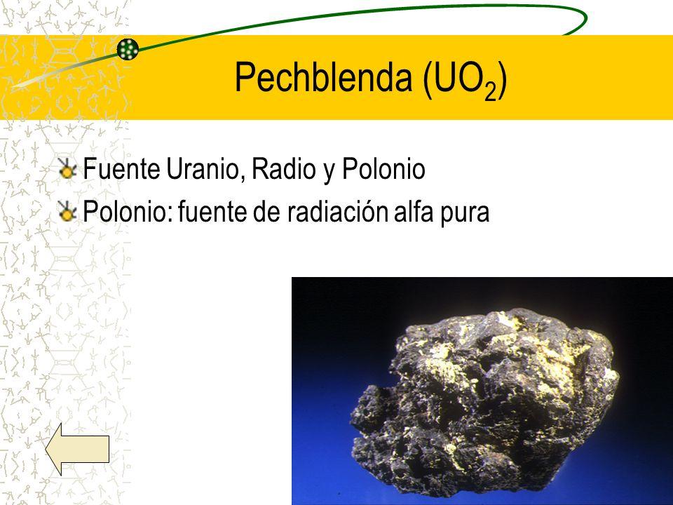 Pechblenda (UO2) Fuente Uranio, Radio y Polonio