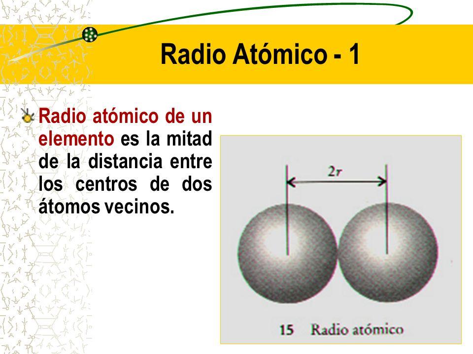Radio Atómico - 1 Radio atómico de un elemento es la mitad de la distancia entre los centros de dos átomos vecinos.