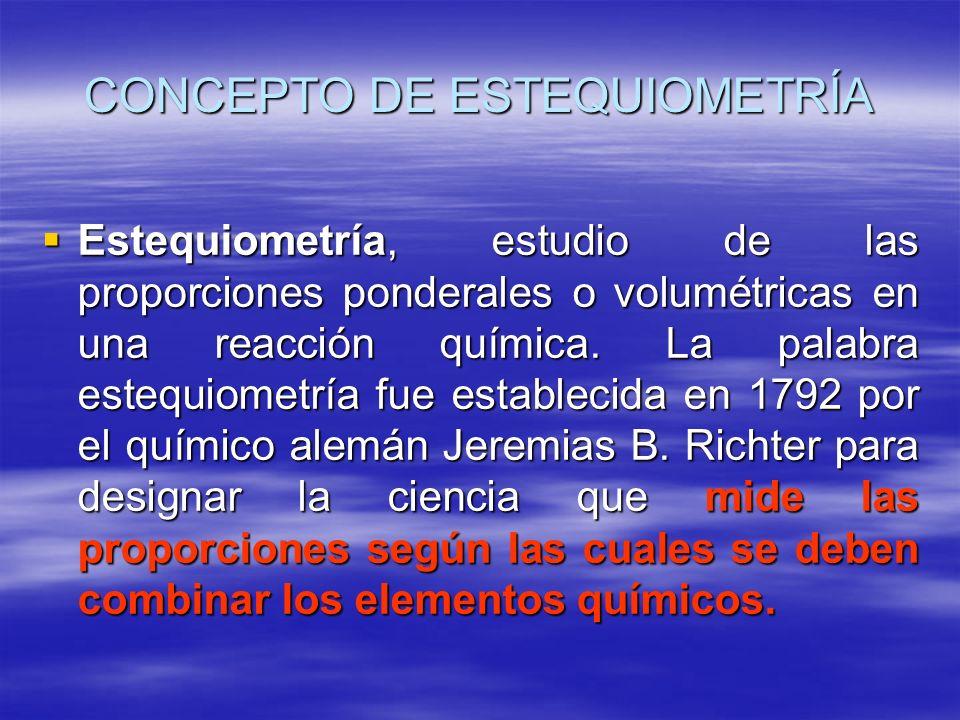 CONCEPTO DE ESTEQUIOMETRÍA